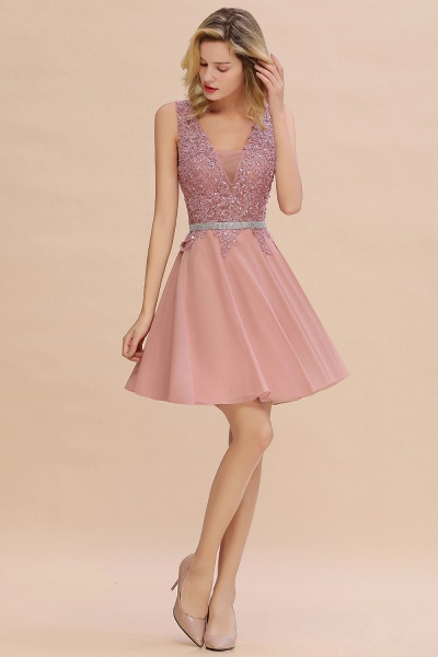 Cute Deep V-neck Short Homecoming Dress with Beaded Belt_13