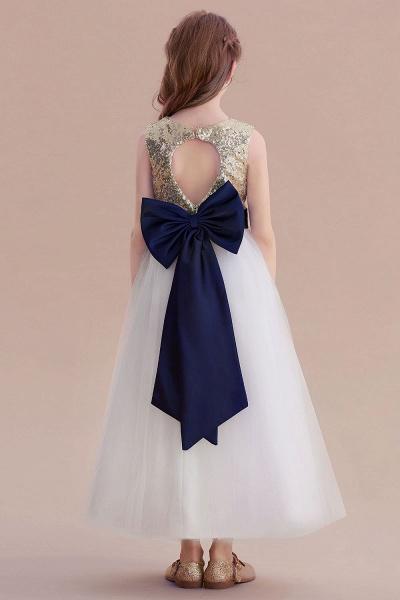 Bow Sequins Ankle Length A-line Flower Girl Dress_3