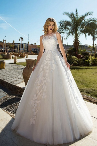 Elegant Appliques Tulle Ball Gown Wedding Dress_1