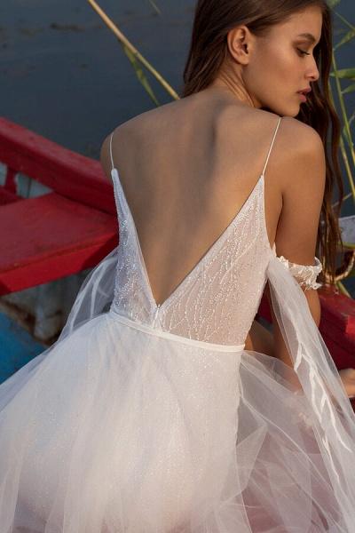 Amazing Spaghetti Strap Tulle Sheath Wedding Dress_9