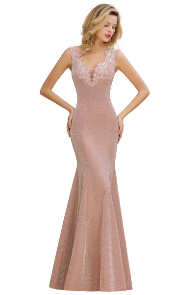 Fascinating V-neck Lace Mermaid Evening Dress_10