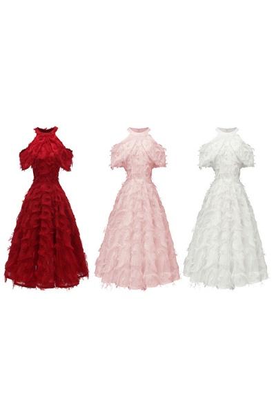 Elegant High neck Artifical Feather A-line Vintage Cocktail Dresses | Retro A-line Burgundy Homecoming Dress_17
