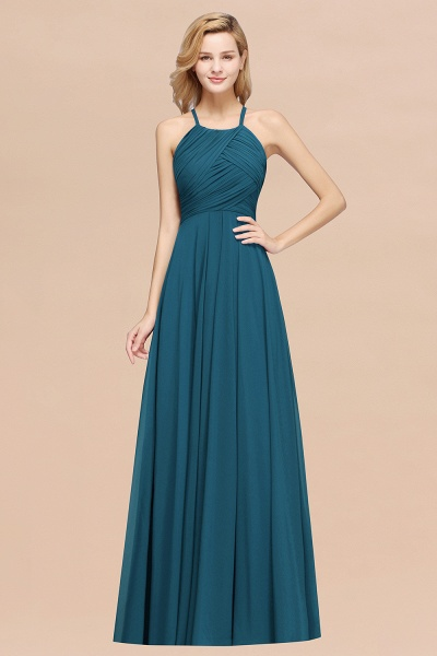 A-Line Chiffon Halter Ruffles Floor-Length Bridesmaid Dress_27