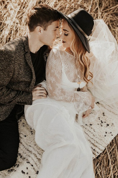 Open Back Long Sleeve Lace A-line Wedding Dress_10
