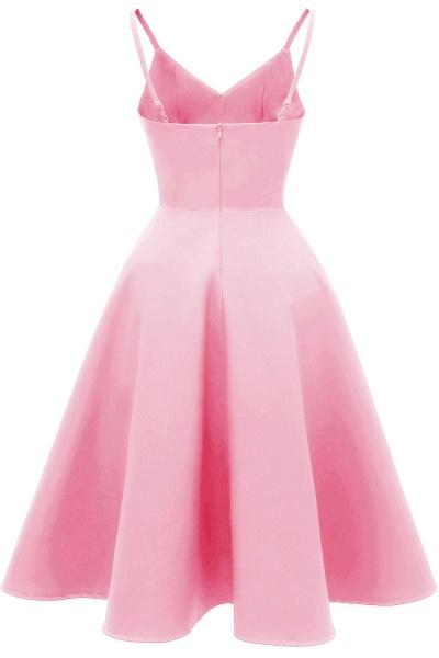 Trendy Spaghetti Straps Sleeveless Princess Vintage Dresses | Womens Retro V-neck Burgundy Cocktail Dress_8