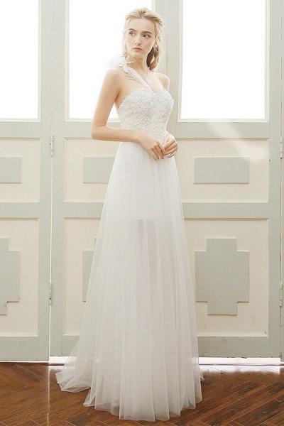 Elegant One Shoulder Tulle A-line Wedding Dress_1