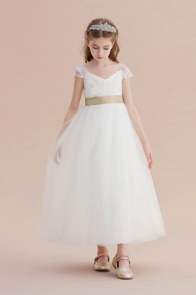 Cap Sleeve Sweetheart Tulle Flower Girl Dress_1