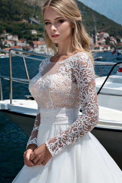 Long Sleeve Lace Tulle Ball Gown Wedding Dress_4