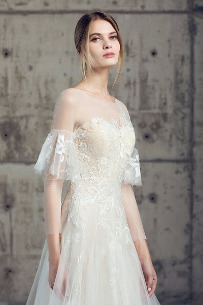 Illusion Long Sleeve Appliques Tulle Wedding Dress_8