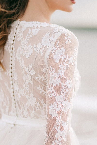 Modest V-neck Lace A-line Tulle Wedding Dress_5