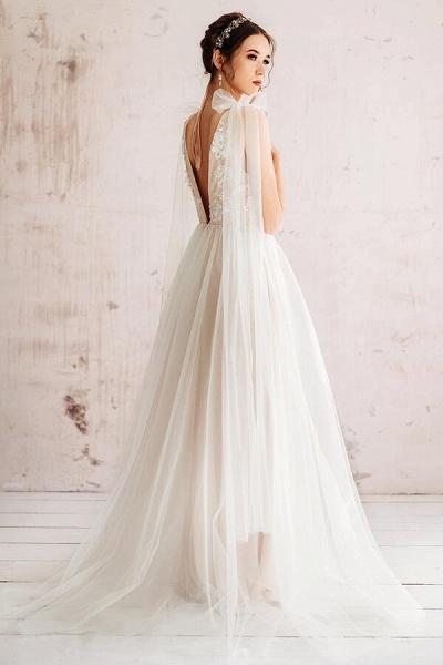 Open Back Appliques Tulle A-line Wedding Dress_3