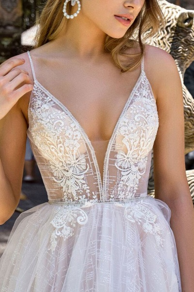 Spaghetti Strap Appliques A-line Wedding Dress_4