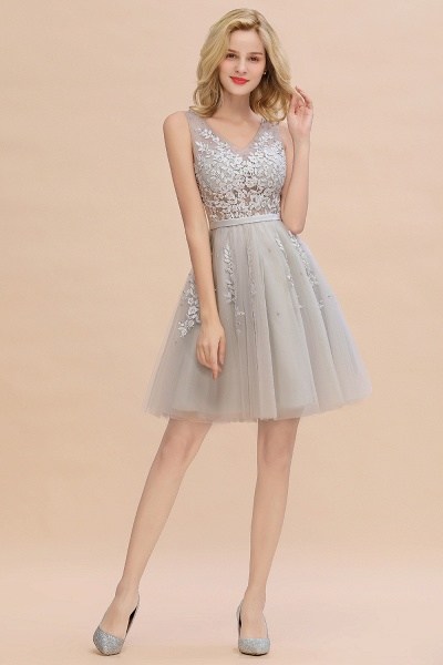 Sexy V-neck Lace-up Short Homecoming Dress with Lace Appliques_18