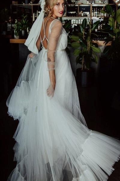 Modest Long Sleeve Tulle Chapel Train Wedding Dress_4