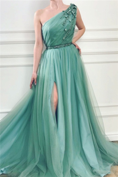 Fabulous One Shoulder Tulle A-line Prom Dress_1