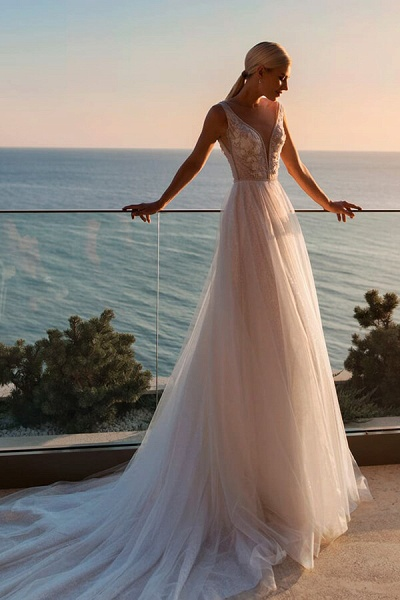 Applique Cathedral Train Tulle A-line Wedding Dress_1
