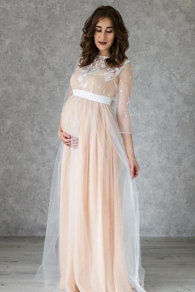 Graceful Applique Floor Length Tulle Wedding Dress_5