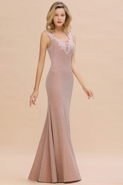 Fascinating V-neck Lace Mermaid Evening Dress_13