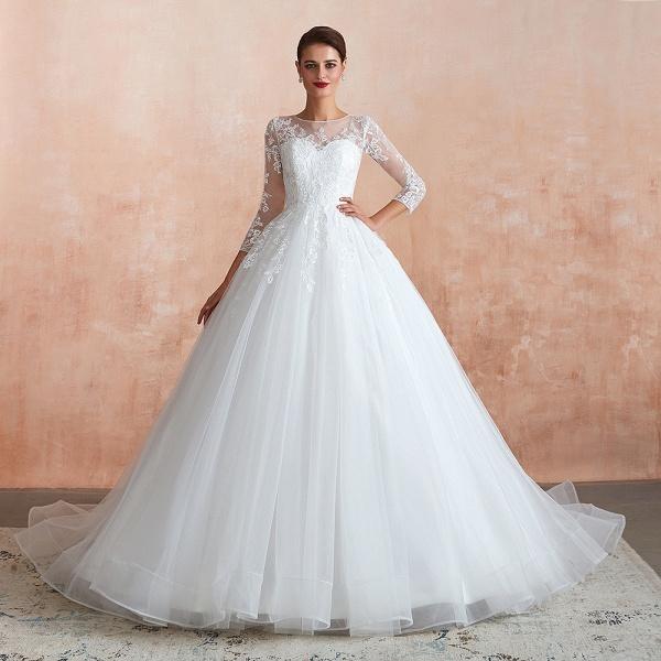 Wonderful Appliques Tulle A-line Wedding Dress_1