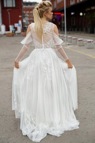 Chic Long Sleeve Cold Shoulder Tulle Wedding Dress_3