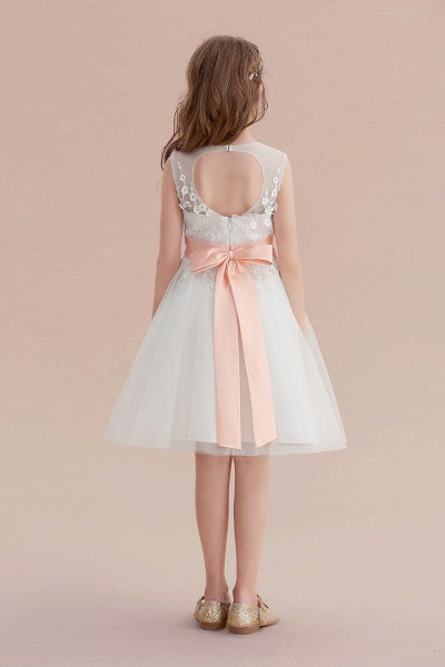 Illusion Appliques Tulle A-line Flower Girl Dress_3