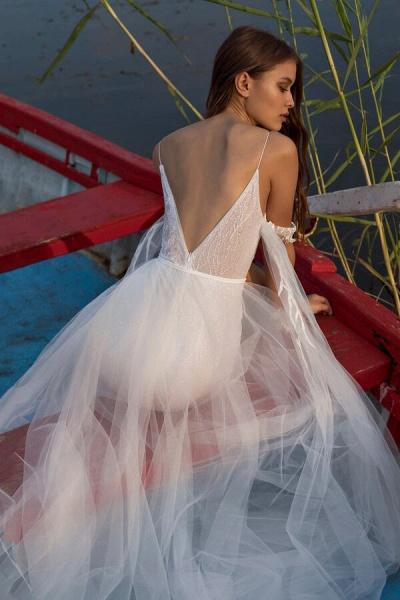 Amazing Spaghetti Strap Tulle Sheath Wedding Dress_3