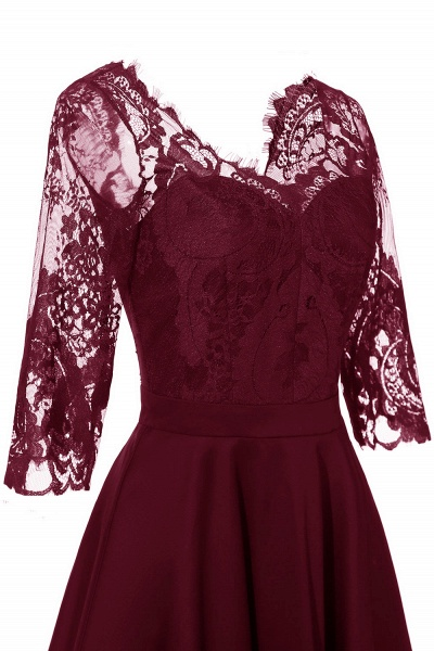 Retro Scoop neck  V-back Lace Dresses with Sleeves | A-line ruffles Burgundy Lace Cocktail Party Dresses_14