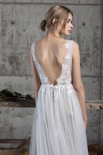 Affordable V-neck Appliques A-line Wedding Dress_3