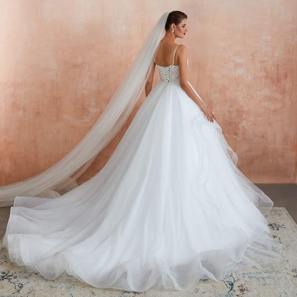 Glorious Appliques Tulle A-line Wedding Dress_8