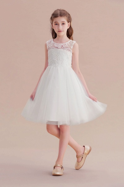 Bow Tulle Lace Knee Length A-line Flower Girl Dress_6