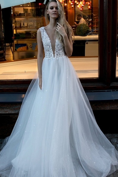 Chic V-neck Pearl Lace Tulle A-line Wedding Dress_1