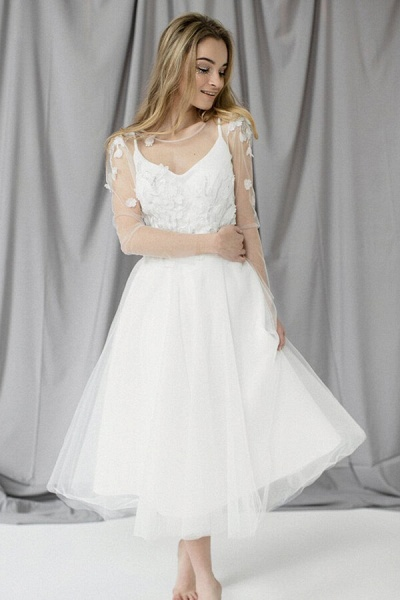 Appliques Long Sleeve Tulle A-line Wedding Dress_1
