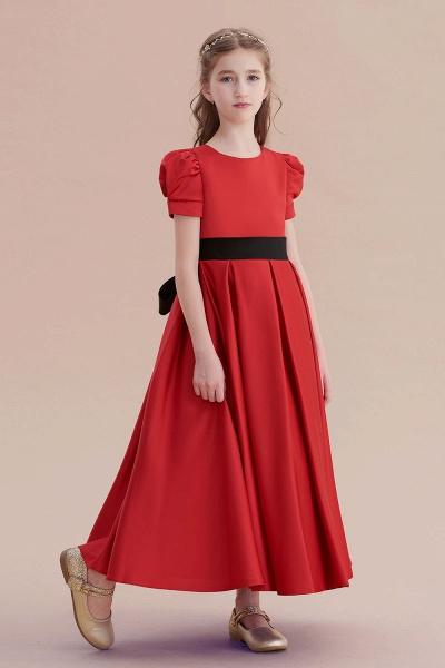 Awesome Short Sleeve A-line Satin Flower Girl Dress_5