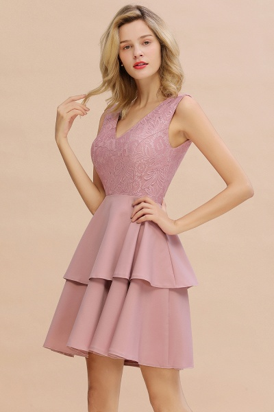Sexy V-neck V-back Knee Length Homecoming Dress with Ruffle Skirt_16