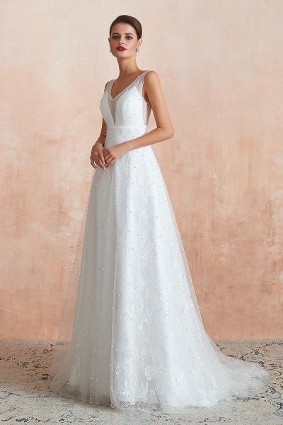 Graceful V-neck Pearl Tulle A-line Wedding Dress_5