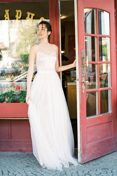 Graceful Floor Length Tulle A-line Wedding Dress_4