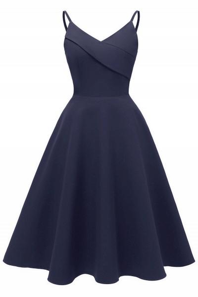 Trendy Spaghetti Straps Sleeveless Princess Vintage Dresses | Womens Retro V-neck Burgundy Cocktail Dress_3