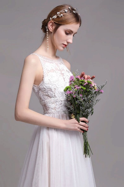 Best Lace Tulle Floor Length A-line Wedding Dress_6