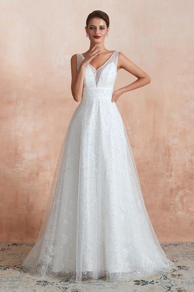 Graceful V-neck Pearl Tulle A-line Wedding Dress_1
