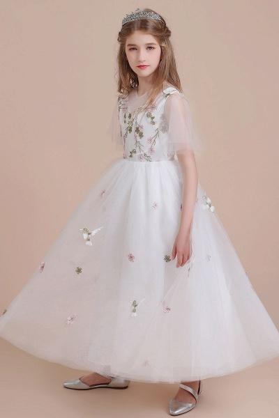Short Sleeve Embroidered Tulle Flower Girl Dress_7