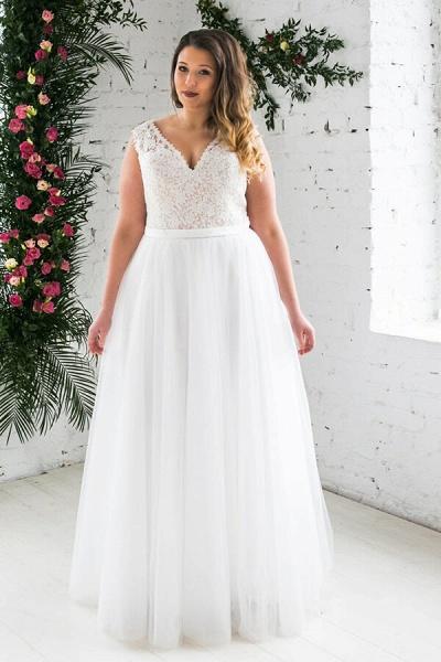 Plus Size V-neck Lace Tulle A-line Wedding Dress_1