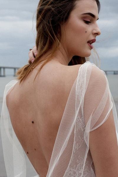 Best V-neck Floor Length Tulle Sheath Wedding Dress_9