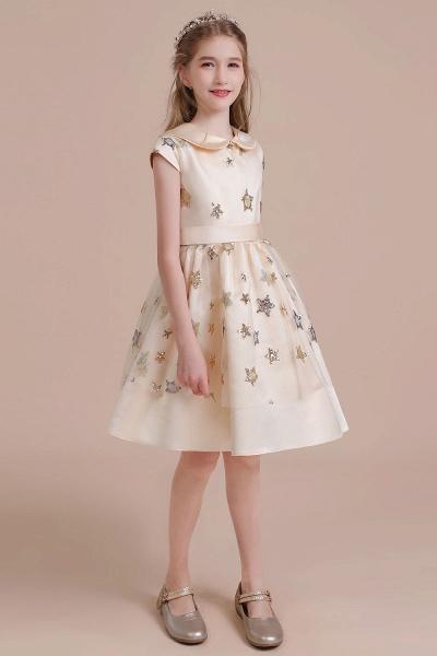 Cap Sleeve Star Sequins Tulle Flower Girl Dress_6