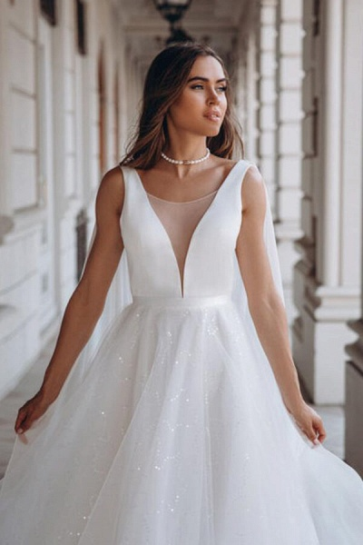 Elegant Sequins Chiffon Tulle A-line Wedding Dress_5