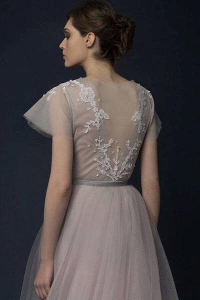 Graceful Short Sleeve Tulle A-line Wedding Dress_7