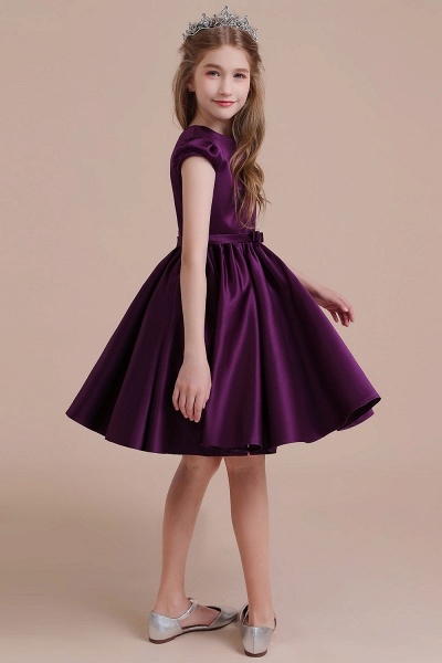 Graceful Cap Sleeve Satin A-line Flower Girl Dress_5