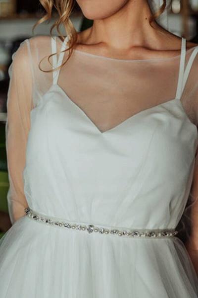 Modest Long Sleeve Tulle Chapel Train Wedding Dress_7