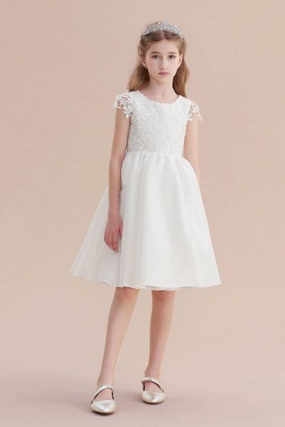 Cap Sleeve Lace Bow A-line Flower Girl Dress_5