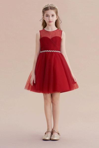 Illusion Tulle Knee Length A-line Flower Girl Dress_1