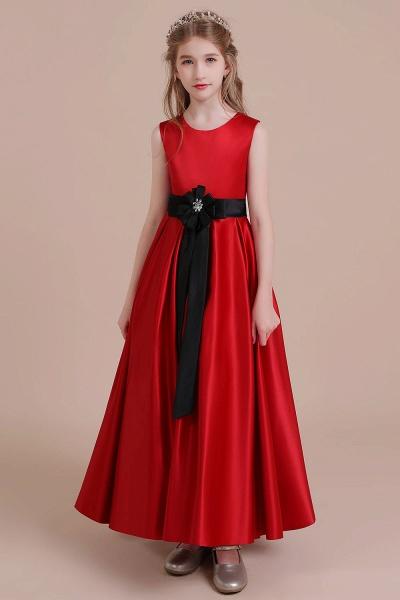 Elegant Satin A-line Flower Girl Dress_5